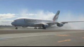 Embedded thumbnail for The arrival of the first A380 to Christchurch International Airport